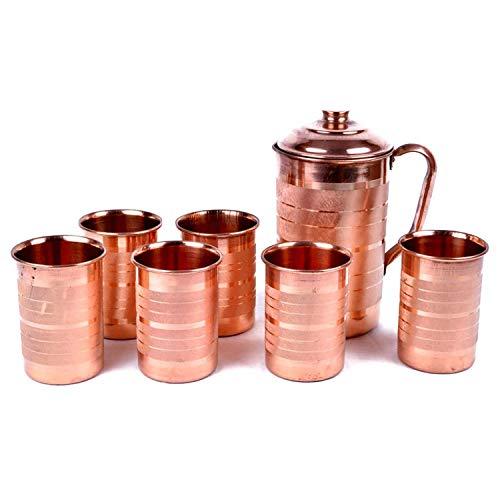 Jarra Cobre Color Marrón - 2000 ml y 6 Juegos de Vasos (400 ml cada uno)