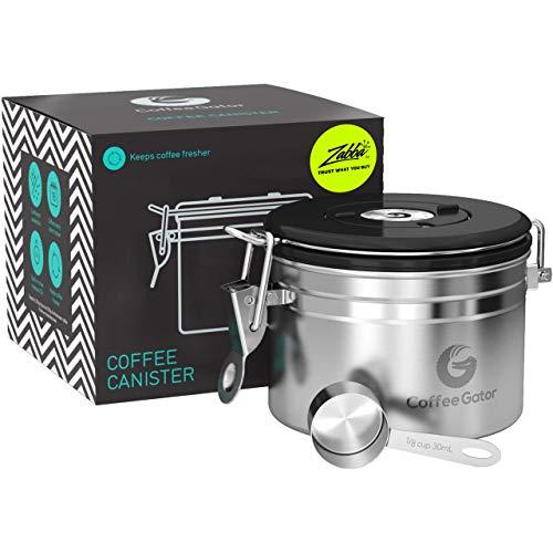 Coffee Gator-Edelstahl-Kaffeedose – Hält gemahlener Kaffee und Bohnen länger frisch – Behälter mit Datumsverfolgung, CO2-Freigabeventil und Messlöffel - Klein - Edelstahl