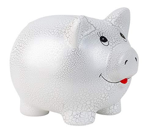 Geschenkestadl Riesen Mega Jumbo Sparschwein Weiss Silber Spardose