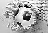 wandmotiv24 Fototapete Fussball Wanddurchbruch , XL 350 x 245 cm - 7 Teile, Fototapeten, Wandbild, Motivtapeten, Vlies-Tapeten, Ziegel, Sport, 3D-Effekt M1269