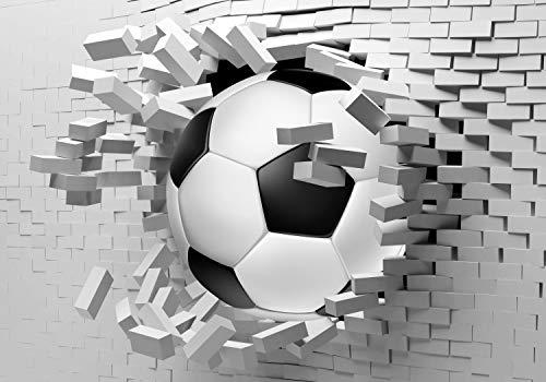 wandmotiv24 Fototapete Fussball Wanddurchbruch L 300 x 210 cm - 6 Teile Fototapeten, Wandbild, Motivtapeten, Vlies-Tapeten Ziegel, Sport, 3D-Effekt M1269