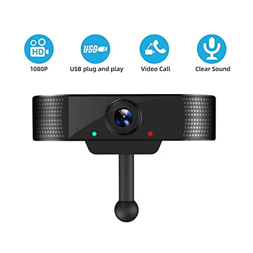 Webcam with Microphone,1080P HD Webcam Desktop or Laptop, USB Computer Camera for Live Streaming Webcam, Plug and Play Video Calling Webcam for Web Conference, 120 Degrees Wide-Angle 30fps