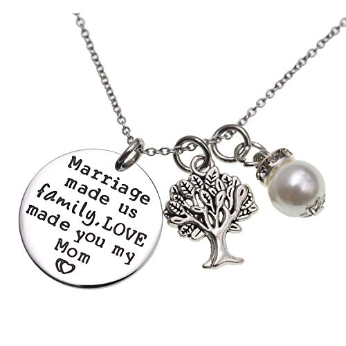 Mother In Law Gift Marriage Made Us Family but Love Made You My Mom Necklace Groom's Mom Bride Wedding Day Gift for Mom