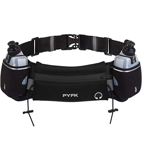PYFK Upgraded Running Belt with Water Bottles, Hydration Belt for Men and Women, Water Bottle Holder Running Pouch Belt, Fanny Pack Fits 6.5 inches Phones, Waist pack for Running Hiking Climbing (Black)