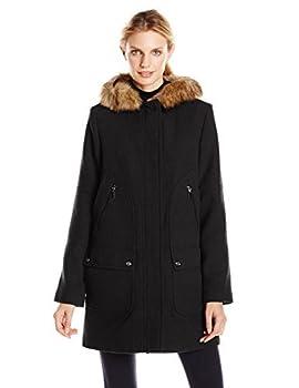 Fleet Street Ltd Women s Wool Coat with Faux Fur Trim Hood Black Large
