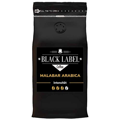 Black Label Coffee Premium Kaffeebohnen 1kg Malabar Arabica 100% Arabica - schonend geröstet für den perfekten Espresso-Kaffee Crema Geschmack - sehr säurearm