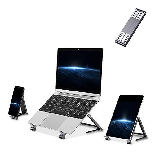 ZTSS Ordenador portátil Soporte Plegable, de Aluminio 3 en 1 Soporte portátil Adustable, compactos Móviles Extensible del Soporte del sostenedor del cojín, Compatible con Otro Ordenador portátil,Gris