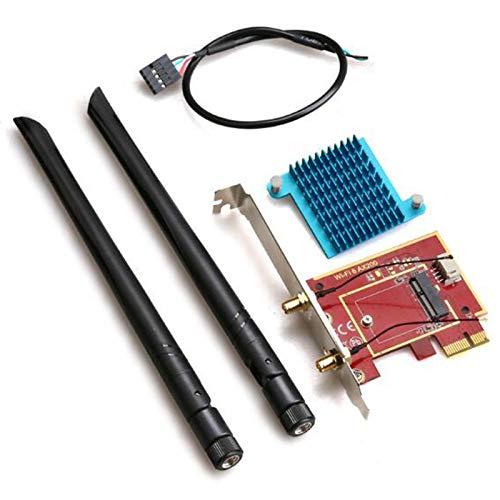 Andifany PCIE-1X A M.2 NGFF E-Key Scheda di Rete WiFi Adattatore Supporta per Computer Desktop