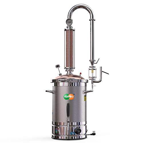 220V máquina de aceite esencial puro rocío extractor destilador eléctrico de la torre de cristal automática calabaza extracción de rocío de temporización de cobre puro (20L)