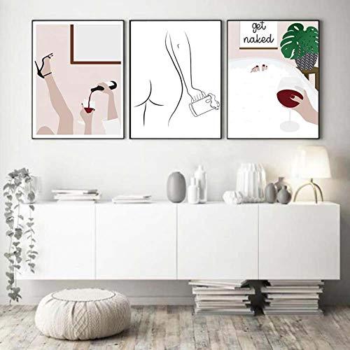 Cartel de la lona de la impresión del arte de la línea única de la mujer de la cerveza Vino tinto Mujer Burbujas de la bañera Cuadro del baño Pintura para la sala de estar 50x75cmx3Pcs Sin marco