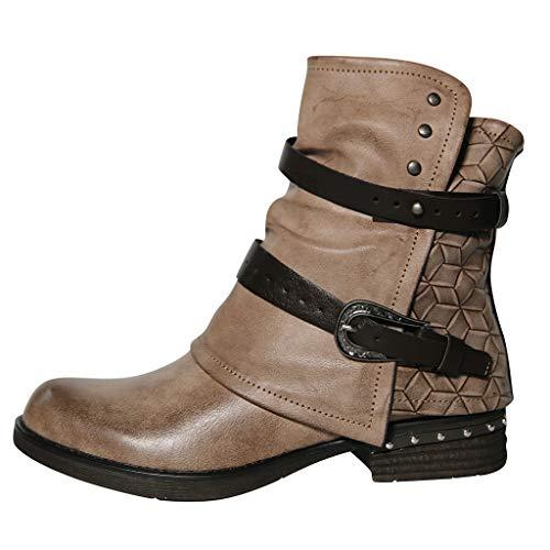 Damen Stiefel Mit Absatz Reitstiefel Blockabsatz Kurzschaft Stiefeletten Chelsea Boots Schnalle Schlupfstiefel mit Reißverschluss Winter Herbst (EU:37.5, Khaki)