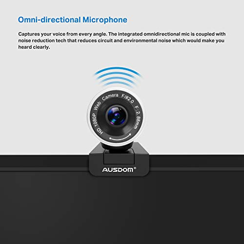 Webcam 1080P with Tripod Stand, 2021 [Upgraded] AUSDOM AW615S USB Plug&Play FHD Web Camera with Microphone, 360° Rotation for Zoom Skype MS Twitch Xbox One OBS Teams Laptop MAC Windows PC Desktop