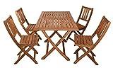SAM 5tlg. Gartengruppe Callao, 1x Tisch 120x70 cm + 4X Klappstuhl Blossom, Balkon-Set, Akazien-Holz