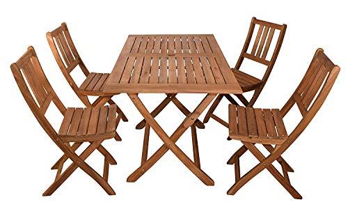 SAM Gartengruppe 1 Blossom, 6tlg. Akazienholz, 2X Tisch 4X Klappstuhl, Sitzgruppe, Zusammenklappbar, FSC 100% Zertifiziert