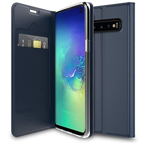 Verco Handyhülle für Galaxy S10e, Premium Handy Flip Cover für Samsung Galaxy S10e Hülle [integr. Magnet] Book Hülle PU Leder Tasche 5,8 Zoll, Blau