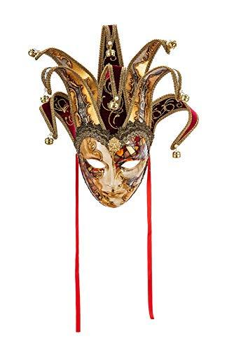 Original venezianische Deko-Maske mit Jokergesicht, handgefertigt, byzantinisches Dekor, Kupfer und Gold, Spitzen aus burgunderfarbenem Samt und Papier mit Motiven der Stadt Venedig. Made In Italy