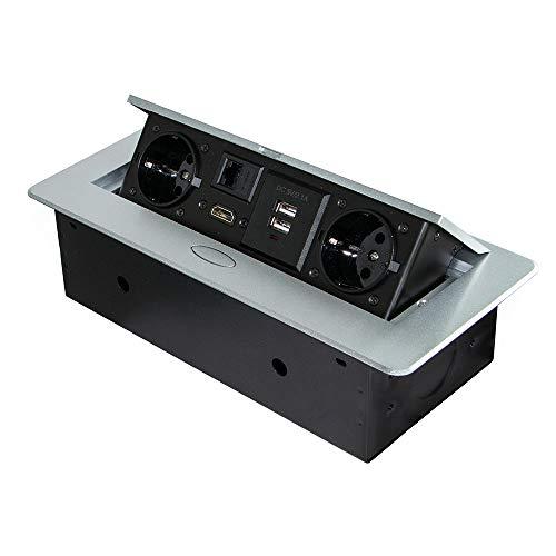 Emuca - Blocco multipresa a scomparsa da incasso nella scrivania, ciabatta multipresa (spina EU tipo F, USB, RJ45 e HDMI), 265x120mm, grigio metallizzato
