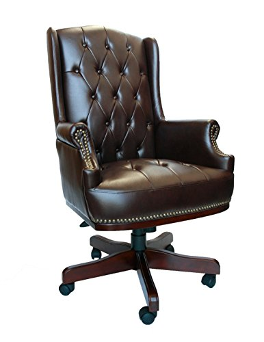 Luxury Managers Directors Chesterfield Antique Captain Style Leather Office Desk Chair Furniture (Brown)
