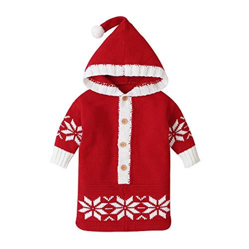FREEHM Saco de Dormir de Punto para Bebé Manta Envolvente para Bebé Recién Nacido Cálida de Invierno Abrigo para Cochecito con Capucha para Bebés de 0 a 12 Meses Niñas Y Niños,Rojo