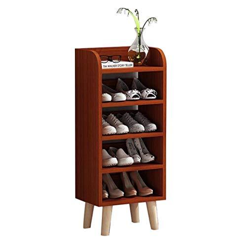 ZAIHW Zapatero Color Teca Zapatero de 5 Capas Hogar Gabinete de Zapatos multifunción 40 * 99 * 29cm Fácil Montaje Muebles Modernos y Sencillos Perchas para Zapatos