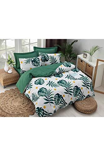 Juego de funda nórdica doble fácil de planchar Monstera verde moderno juego de ropa de cama 4 piezas
