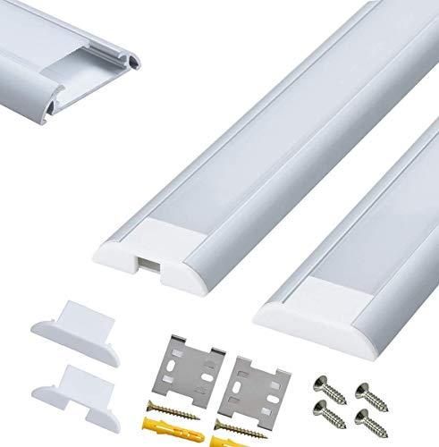 5 x 1 metro perfil de aluminio de ancho para LED Tira doble fila 5050, para Philips Hue LightStrip Plus 2 nd generación, perfecto para tarea iluminación bajo armario.