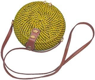 SODIAL Woven Rattan Bag Round Straw Shoulder Bag Small Beach Handbags Women Summer Hollow Handmade Messenger Crossbody Bags Blue