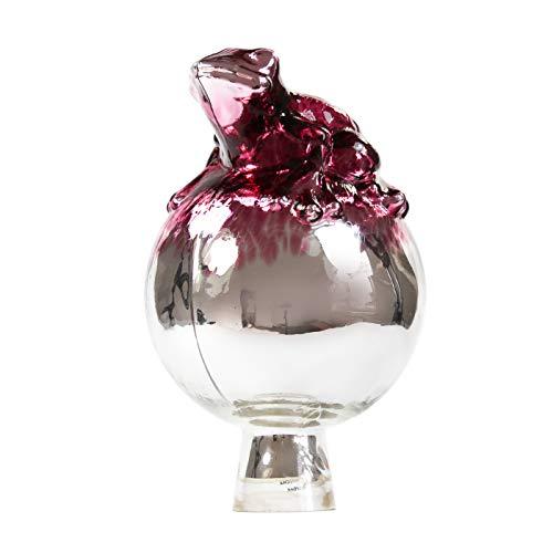 Steingrau Lauscha Rosenkugel Frosch Silber Pink verspiegelt 12cm mundgeblasen