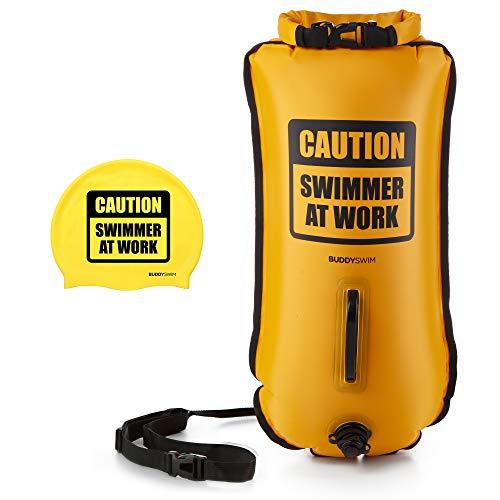 BUDDYSWIM Boya de Seguridad para Natación en Aguas Abiertas de 28 litros. Incluye Gorro de Silicona a Juego. Color Amarillo.