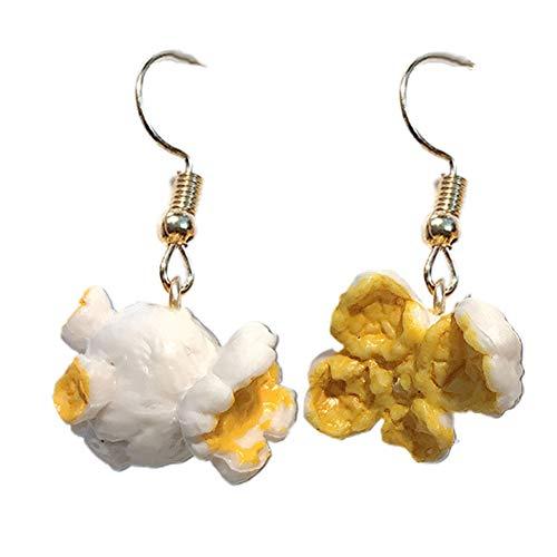 Moares Frauen Mode Ohrringe, Lustige Frauen Popcorn Essen Baumeln Ohrclip Haken Ohrringe Party Club Schmuck Geschenk Weiß