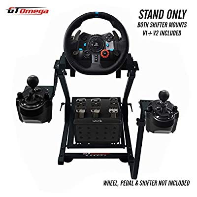 GT Omega Racing Wheel Stand for Logitech G29 Driving Force Gaming Steering Wheel & Pedals, PS4, Xbox, Ferrari, PC - Pre Drilled, Foldable, Tilt-Adjustable to Ultimate Simulator Racing Experience