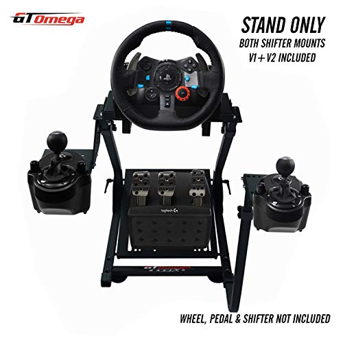 GT Omega Racing Wheel Stand for Logitech G29 Driving Force Gaming Steering Wheel, Pedals & Gear Shifter Mount V1, PS4, Xbox, Ferrari, PC - Foldable, Tilt-Adjustable to Ultimate Sim Racing Experience
