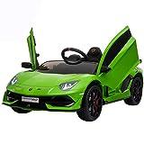 IKON MOTORSPORTS 12V Kids Ride on Car, Licensed Lamborghini Aventador SVJ w/ Remote Control, Suspension, Opening Doors, Power Display & MP3 (Green)