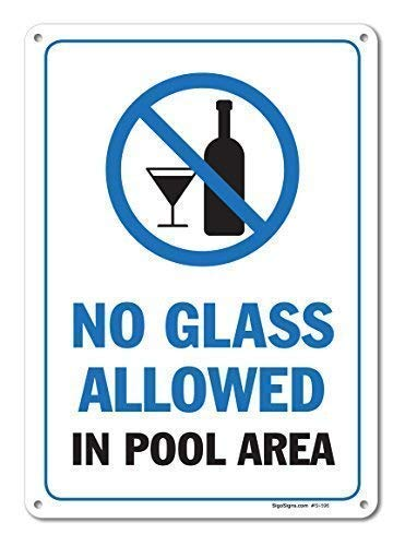 """Blechschild Warnschild Signs Pool Signs No Glass Allowed in Pool Area Sign Pool Rules Garage Home Yard 8"""" X 12"""" Zimmer Metall Poster Wanddekoration"""