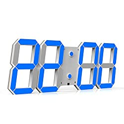 CHKOSDA Remote Control Jumbo Digital Led Wall Clock, Multifunction Led Clock, Large Calendar, Minute Alarm Clock, Countdown Led Clock, Big Thermometer, Mute Clock (Blue)
