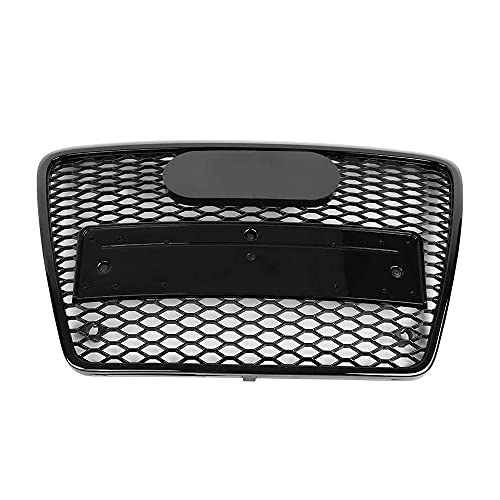 DAJIJI Parrilla Frontal, Front Sport Hex Mesh Honeycomb para Audi A6 / S6 C6 2005 2006 2007 2009 2010 2011 para RS6 Style Car Front Grille Negro