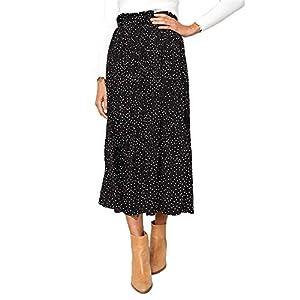 Women's High Waist Polka Dot Pleated Skirt Midi Maxi Swing Skirt with Pockets