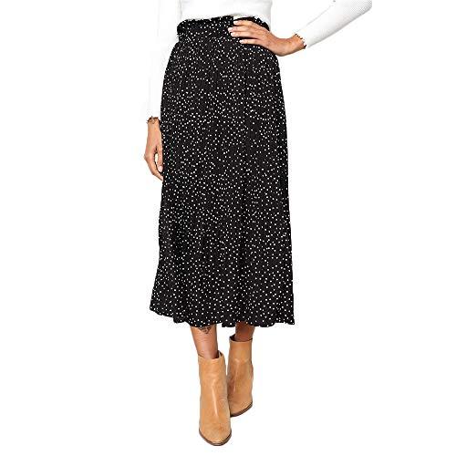 Exlura Womens High Waist Polka Dot Pleated Skirt Midi Swing Skirt with Pockets Black Large