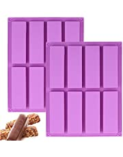 2 Pcs Large Rectangle Silicone Mold, Cereal Bar Molds, 8 Cavities Energy Bar Maker Baking Pan for Muffin Brownie Cornbread Cheesecake Pudding Cake and Soap, 10.5X 8.35x 0.8 Inch