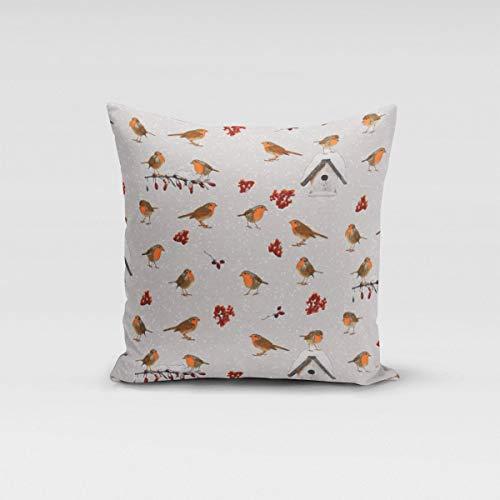 SCHÖNER LEBEN. Kissenhülle Winter Rotkehlchen Vogelhaus grau weiß braun Verschiedene Größen, Kissenhüllen Größe:50x50cm (HxB)