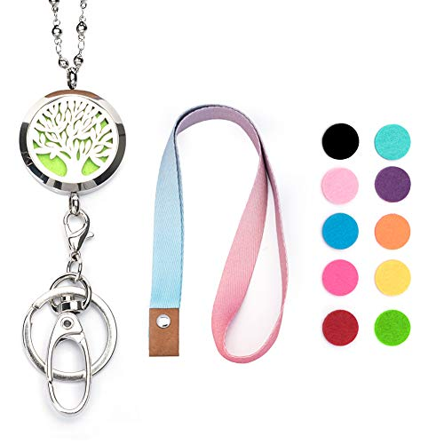 MU.Suns Upgraded Version Strong Lanyards for Keys Charms Essential Oil Diffuser, ID Badge Holder Necklace Stainless Steel Beaded Chains, for Women Nurse Teacher Student.
