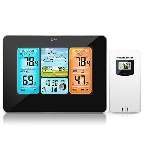 HALOFUN FJ3373 Weather Station, Wireless Indoor Outdoor Thermometer Color Digital Hygrometer with Sensor, Large Display Screen Forecast Station with Alarm Clock, Moon Phase & Weather Forecast