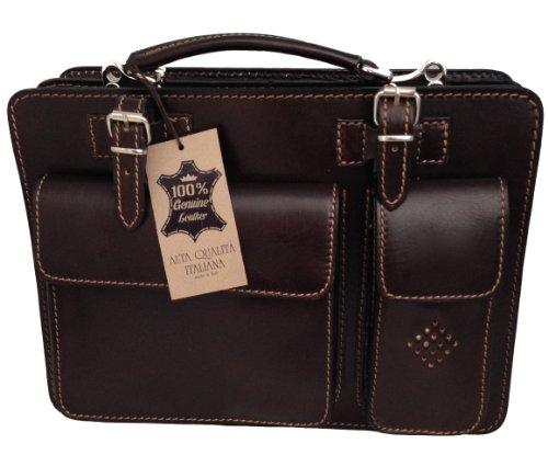 Borsa cartella a mano e tracolla porta documenti pelle made in italy rosso 9025
