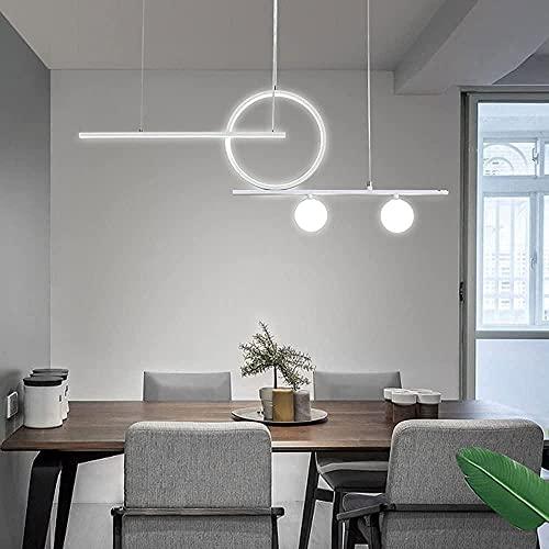 LILAODA Creatividad Chandelier Chandelier Restaurante Colgante Luces Moderno Minimalista LED Luz Luz Decorativa Luces Luces Sala de Estar Iluminación Interior (Dimmer de Tres Colores)-Blanco