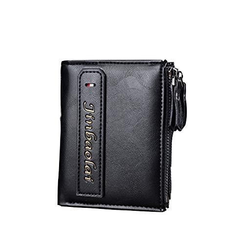 HEIMIAOMIAO heren portemonnee multifunctionele portemonnee voor heren met ritssluiting voor creditcards van PU-leer, Blanco Y Gris (Zwart) - 6912513245158