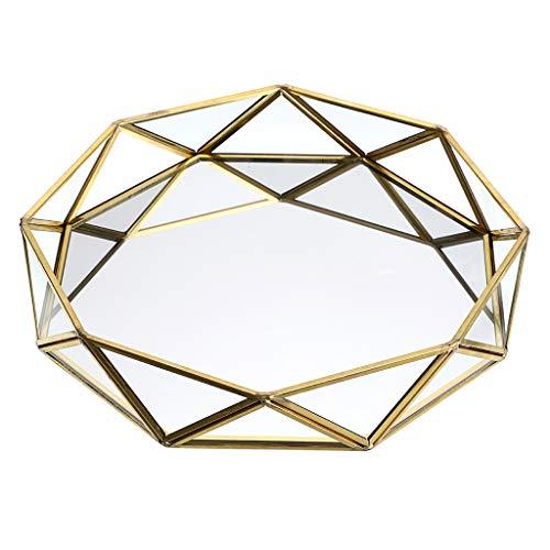 Sumnacon - Bandeja decorativa de metal con cristal espejado, ideal para maquillaje,...