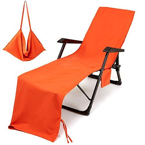 Toallas de playa portátiles para silla de playa, toalla de microfibra para nadar o tomar el sol, cama ultra absorbente con bolsillo lateral, alfombrilla para tumbona para vacaciones color naranja