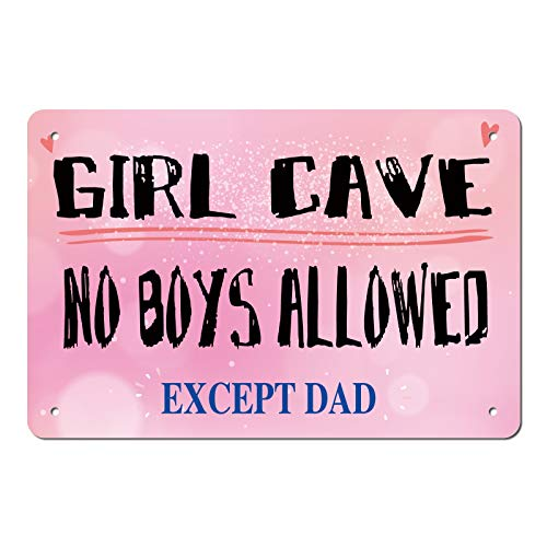 ManruleUS Room Decor for Teen Girls Aesthetic Metal Tin Sign Girl Cave No Boys Allowed 12x8 inches (Girl Cave 4)
