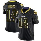 Rugby-Trikot Stefon Diggs Minnesota Vikings # 14 American-Football-Trikot, Besticktes T-Shirt Kurzarm-schnell trocknende Sportkleidung-Black-L