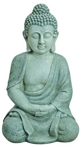 Worldconnection XXL Großer Buddha 50 cm Steinfigur Garten Deko Figur Skulptur Feng Shui sitzend